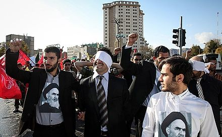 Simulation of the first day of the event, 3 November 2016, Tehran 13 Aban protests in Tehran 02.jpg
