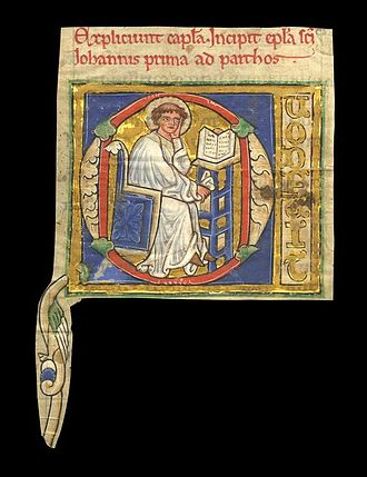 Fragmentology (manuscripts) - Illuminated letter with painting of John, cut out from 13th century manuscript