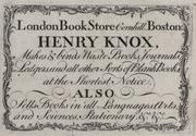 1771 HenryKnox LondonBookStore Boston