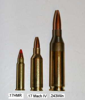 Left to right: .17 HMR, .17 Mach IV, .243 Win