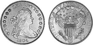 History of the United States dollar - An 1804 Silver dollar.