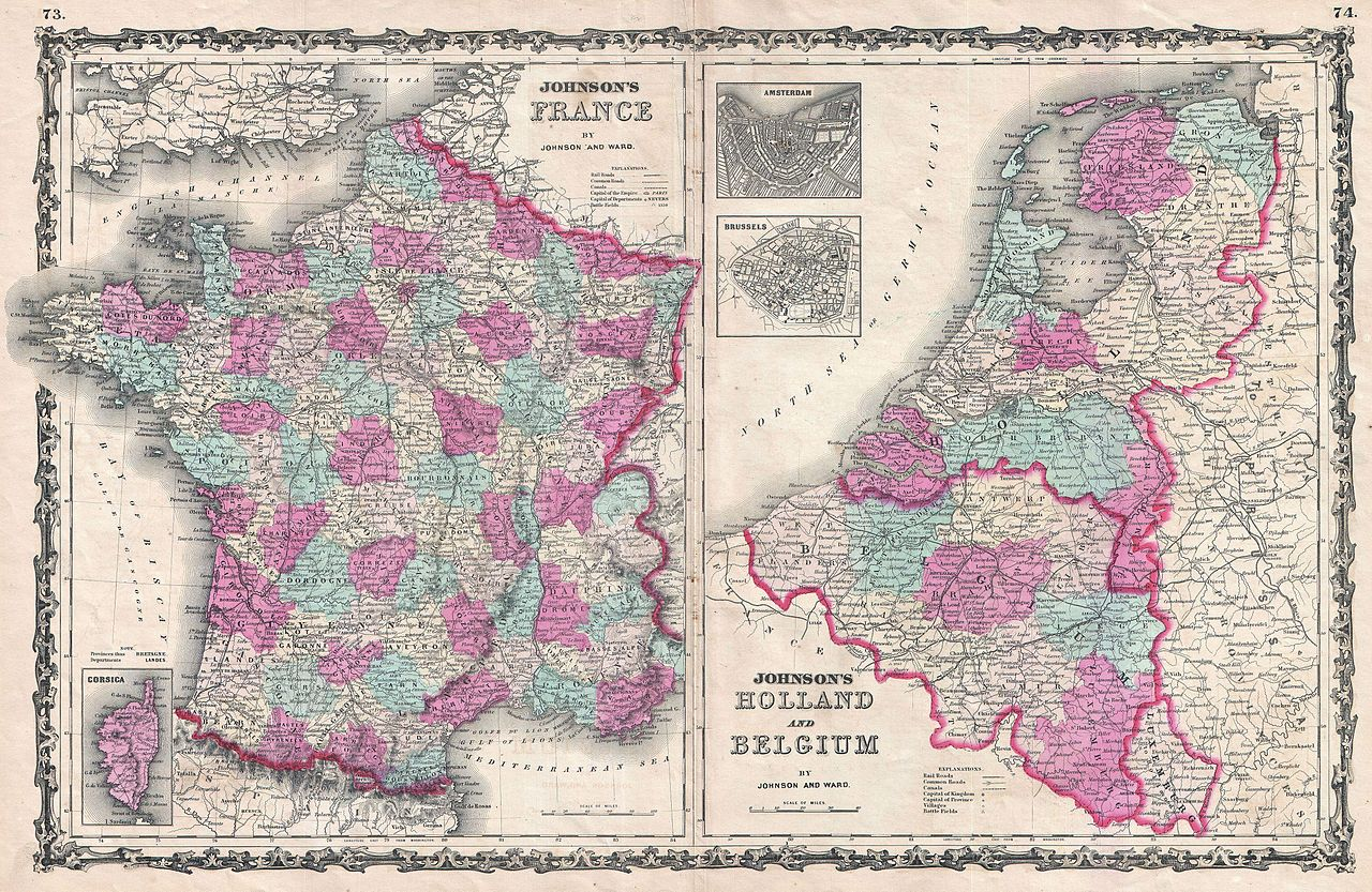 File1862 Johnson Map of France Holland and Belgium – Map of France and Belgium