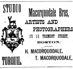 1882 Macorquodale Bros photographers advert Tremont Street in Boston USA.png