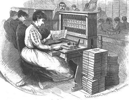 The Hollerith tabulator was used to tabulate the 1890 census--the first time a census was tabulated by machine. The illustration is of a Hollerith tabulator that has been modified for the first 1890 tabulation, the family, or rough, count--the punched card reader has been removed, replaced by a simple keyboard. See: Truesdell, 1965, The Development of Punched Card Tabulation ..., US GPO, p. 61 1890 Census Hollerith Electrical Counting Machines Sci Amer.jpg