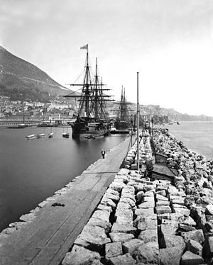 "South Mole, Gibraltar Harbour - Photograph taken from the ""New"" Mole looking south along its length in the 1890s ."