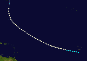 1891 Atlantic hurricane season - Image: 1891 Atlantic hurricane 2 track