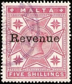 Revenue stamps of Malta - The 5/- value from Malta's first revenue issue of 1899