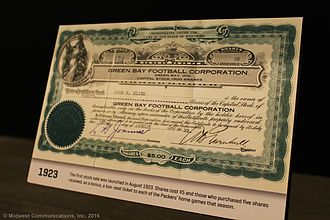 Green Bay Packers, Inc. - A 1923 Green Bay Packers stock certificate, as displayed at the Green Bay Packers Hall of Fame