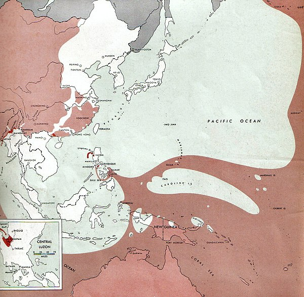 The strategic situation in the Pacific in January 1945. The red shaded area was controlled by the Allies and the remainder was controlled by Japan. 1945-01-15JapWW2BattlefrontAtlas.jpg