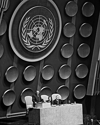 National emblem of France - Disks in the United Nations General Assembly hall for which France submitted its heraldic device. The disks were removed in 1956.