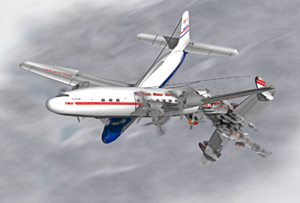 1956 Grand Canyon mid-air collision - An artist's impression of United Airlines Flight 718 colliding with TWA Flight 2.