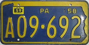 1958 Pennsylvania license plate A09-692.jpg