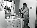 1963. Petri dishes and other glassware are being sterilized in a pressure cooker in field laboratory. C.G. Thompson is pictured. Willapa Game Refuge. Naselle, WA. (34743852465).jpg