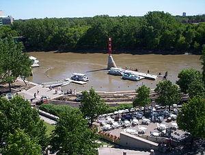 Assiniboine River - The Assiniboine River flooding the Forks Marina in Winnipeg
