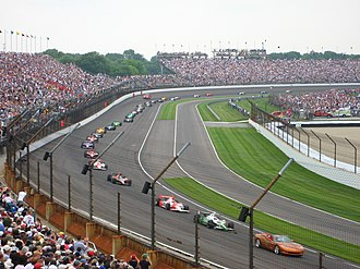 Indianapolis 500 pace cars - The pace car (a Chevrolet Corvette) leads the field past an accident site at the 2007 Indianapolis 500.