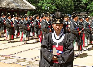 Lee (Korean surname) - Descendents of the Jeonju Yi family perform rites called Jongmyo jerye to honor their ancestors in an annual ceremony the Korean government has declared an Important Intangible Cultural Asset.