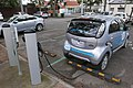2010 Mitsubishi i-MiEV (GA MY10) hatchback, Positive Charge, using ChargePoint station, 1 David Street, Brunswick, Victoria (2015-07-15) 04.jpg
