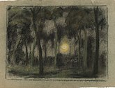 A murky pastel drawing of the sun, visible through a forest.