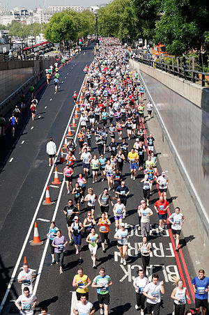 London 10,000 - Runners crossing Blackfriars Bridge in 2012
