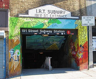 191st Street (IRT Broadway–Seventh Avenue Line) - Image: 2013 191st Street subway station Broadway at 190th Street entrance