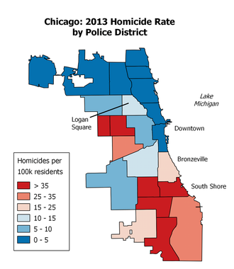 Crime in Chicago - Homicide map by police district (click to enlarge).