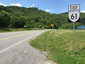 Virginia State Route 61 - View east along SR 61 at US 52 in Rocky Gap