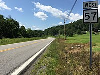 2017-07-30 15 10 28 View west along West Virginia State Route 57 at Nutter Road (Barbour County Route 57-5) in Overfield, Barbour County, West Virginia.jpg