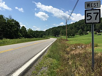 West Virginia Route 57 - View west along WV 57 at CR 57/5 in Overfield