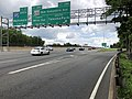 2019-05-27 12 50 20 View east along the inner loop of the Capital Beltway (Interstate 495) at Exit 28B (Maryland Route 650 South-New Hampshire Avenue, Takoma Park) along the edge of Hillandale and Silver Spring in Montgomery County, Maryland.jpg
