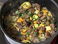 2020-03-28 17 19 06 A stew being cooked with beef, potatoes, carrots, cayenne pepper, rosemary, garlic, parsley, butter and sea salt in the Franklin Farm section of Oak Hill, Fairfax County, Virginia.jpg