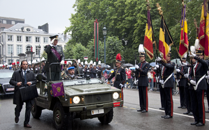 Belgian National Day - King Albert II reviewing the army on National Day 2011.