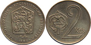 "Czechoslovak koruna - Obverse: Coat of arms of  Czechoslovakia and linden twig surrounded by year and lettering  ""ČESKOSLOVENSKÁ SOCIALISTICKÁ REPUBLIKA""  (Republic of Czechoslovakia)."