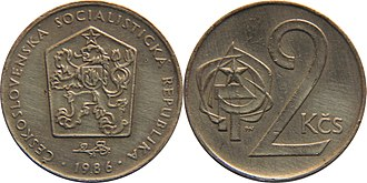 "Czechoslovak koruna - Obverse: Coat of arms of Czechoslovakia and linden twig surrounded by year and lettering  ""ČESKOSLOVENSKÁ SOCIALISTICKÁ REPUBLIKA""  (Czechoslovak Socialist Republic)."