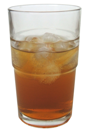 A glass of kombucha made from black tea
