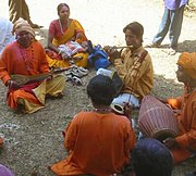 Bāul folk singers in Santiniketan during the annual Holi festival.