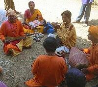 Bāul folk singers in Santiniketan during the annual Holi festival.