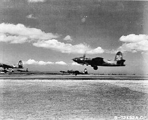 117th Air Refueling Squadron - B-26 Marauders from the 440th Bomb Squadron, 319th Bomb Group, 12th Air Force taking off from Decimomannu Airfield, Sardina. The group was trying these 6-plane take offs to save time forming up for missions.