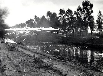 4th Canadian Division - Image: 4th Canadian Armoured Division flamethrower demonstration across canal Balgerhoeke Belgium October 1944