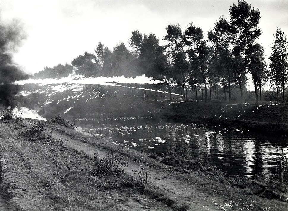 4th Canadian Armoured Division flamethrower demonstration across canal Balgerhoeke Belgium October 1944