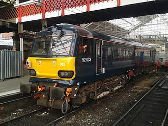 British Rail Class 92 - Midnight Teal liveried 92033 at Crewe Railway Station, having been moved from Brush Traction to Crewe Railway Station for testing.