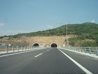 Egnatia Odos (modern road) - Image: A2 Motorway, Greece Section Ioannina Driskos Driskos Tunnel, southern entry 03