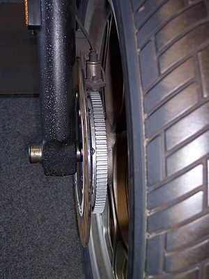 Anti-lock braking system for motorcycles - Another toothed-wheel ABS sensor. This is on a BMW K75 motorcycle.