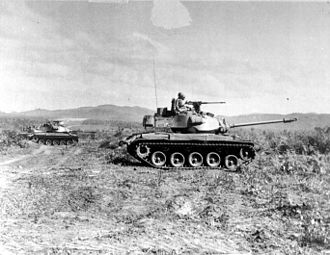 Light tank - South Vietnamese M41 Walker Bulldog tanks during a training operation.