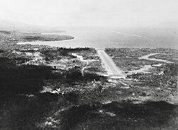 Aerial view of an airstrip.