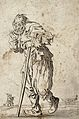 A bearded beggar, dressed in rags, holding a staff in his le Wellcome V0020327ER.jpg