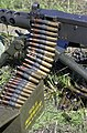 A close up of 0.50 Caliber (12.7 mm) Browning Ball M33 Ammunition loaded onto a Browning M2 HB 0.50 caliber heavy machine.JPEG