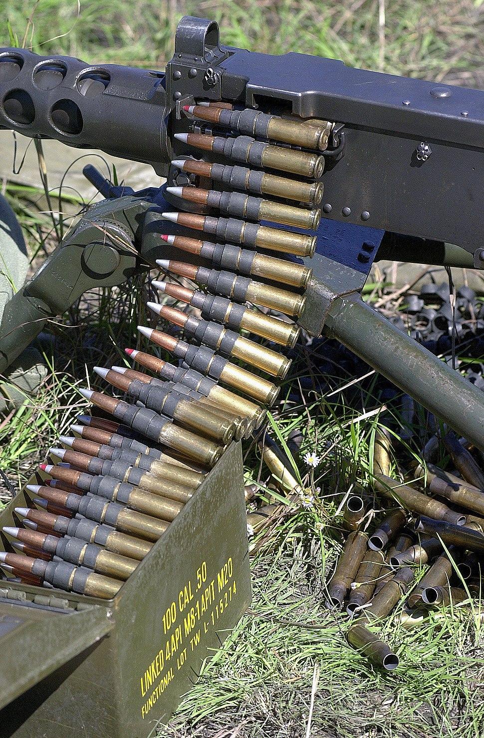A close up of 0.50 Caliber (12.7 mm) Browning Ball M33 Ammunition loaded onto a Browning M2 HB 0.50 caliber heavy machine.JPEG