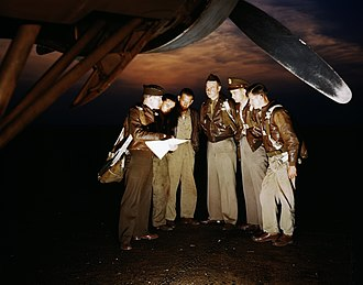 Langley Air Force Base - YB-17 Flying Fortress bomber crew receiving instructions at Langley, May 1942