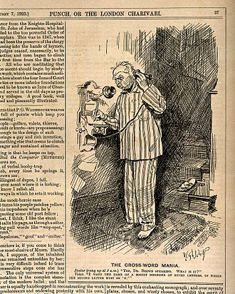 """Crossword - A 1925 Punch cartoon about """"The Cross-Word Mania"""". A man phones his doctor in the middle of the night, asking for """"the name of a bodily disorder of seven letters, of which the second letter must be 'N'""""."""