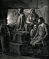 A family are grouped around the blacksmith's anvil as he hol Wellcome V0039521.jpg